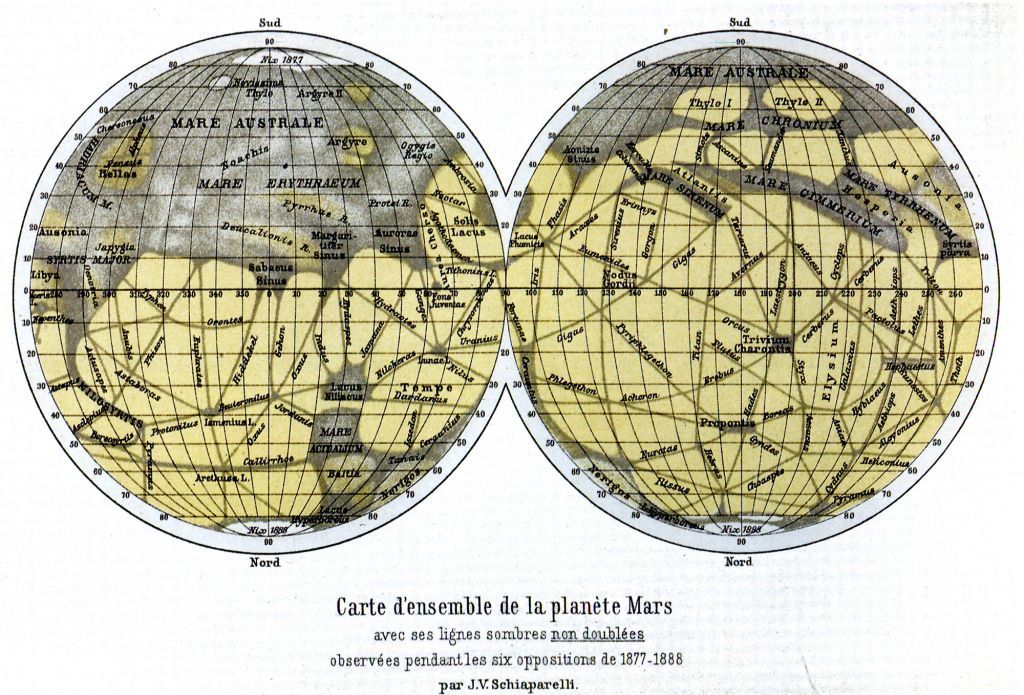 Atlas of Mars by Giovanni Schiaparelli, 1888 (with the South Pole on top).